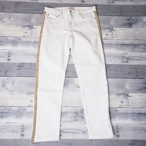 NWOT Gap Staight Leg White Jeans Gold Striped